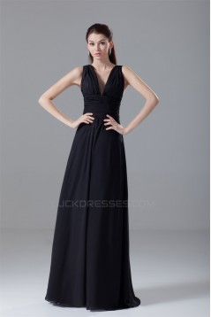 A-Line Chiffon V-Neck Long Black Bridesmaid/Wedding Party Dresses 02010121