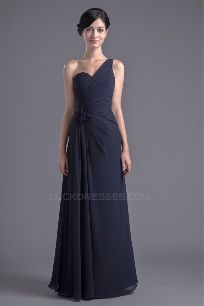 A-Line Chiffon One-Shoulder Long Bridesmaid Dresses 02010122