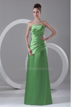 A-Line Floor-Length Pleats Strapless Sleeveless Long Bridesmaid Dresses 02010123