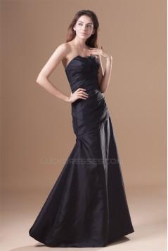 A-Line Floor-Length Strapless Taffeta Pleats Best Bridesmaid Dresses 02010124
