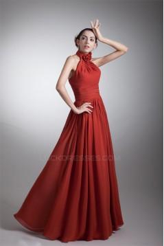 A-Line Halter Sleeveless Handmade Flowers Most Popular Long Bridesmaid Dresses 02010125