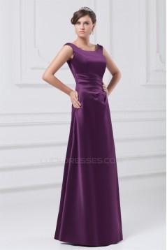 A-Line Satin Floor-Length Pleats Sleeveless Long Purple Bridesmaid Dresses 02010127