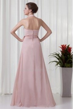 A-Line Sleeveless Floor-Length Ruched Halter Most Popular Long Bridesmaid Dresses 02010129