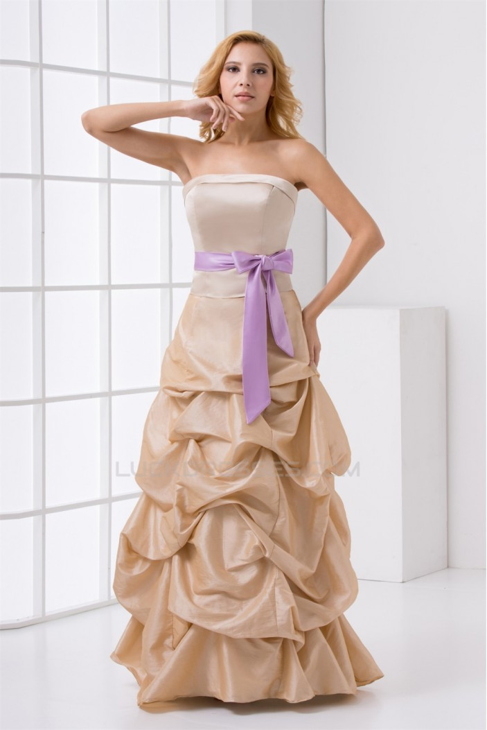 A-Line Taffeta Floor-Length Long Bridesmaid Dresses 02010131