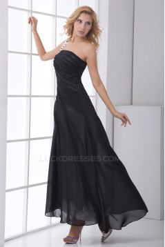 Charming Beading Chiffon A-Line One-Shoulder Long Black Bridesmaid Dresses 02010138