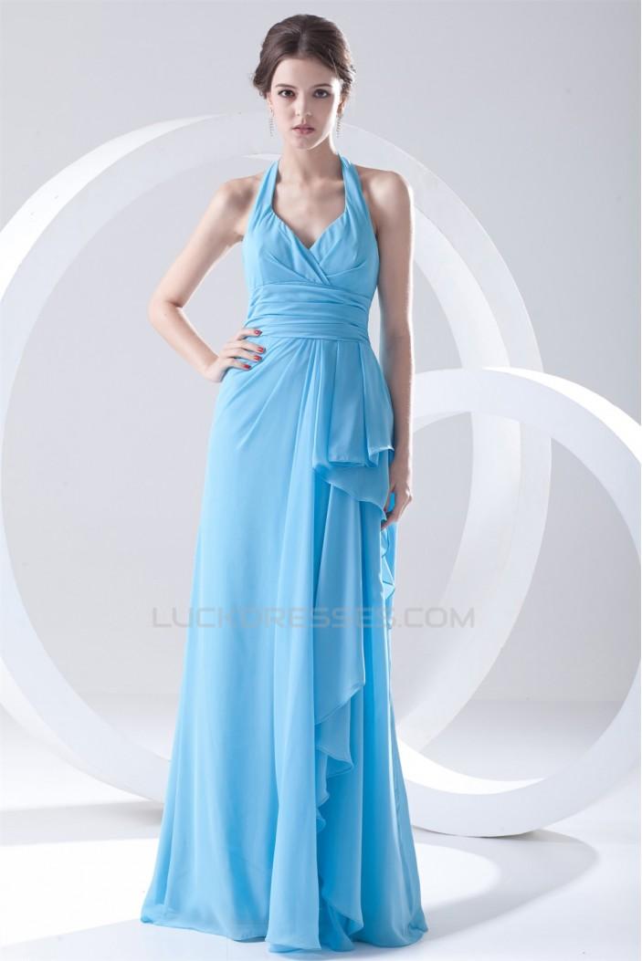 Most Popular Halter Side Drapping Best Long Blue Chiffon Bridesmaid Dresses 02010142