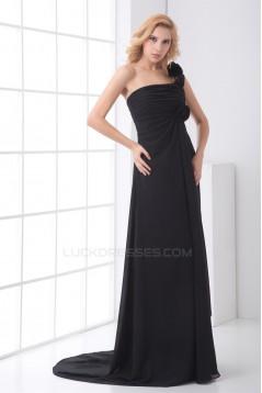 Hot Selling Chiffon One-Shoulder Long Black Bridesmaid Dresses 02010143