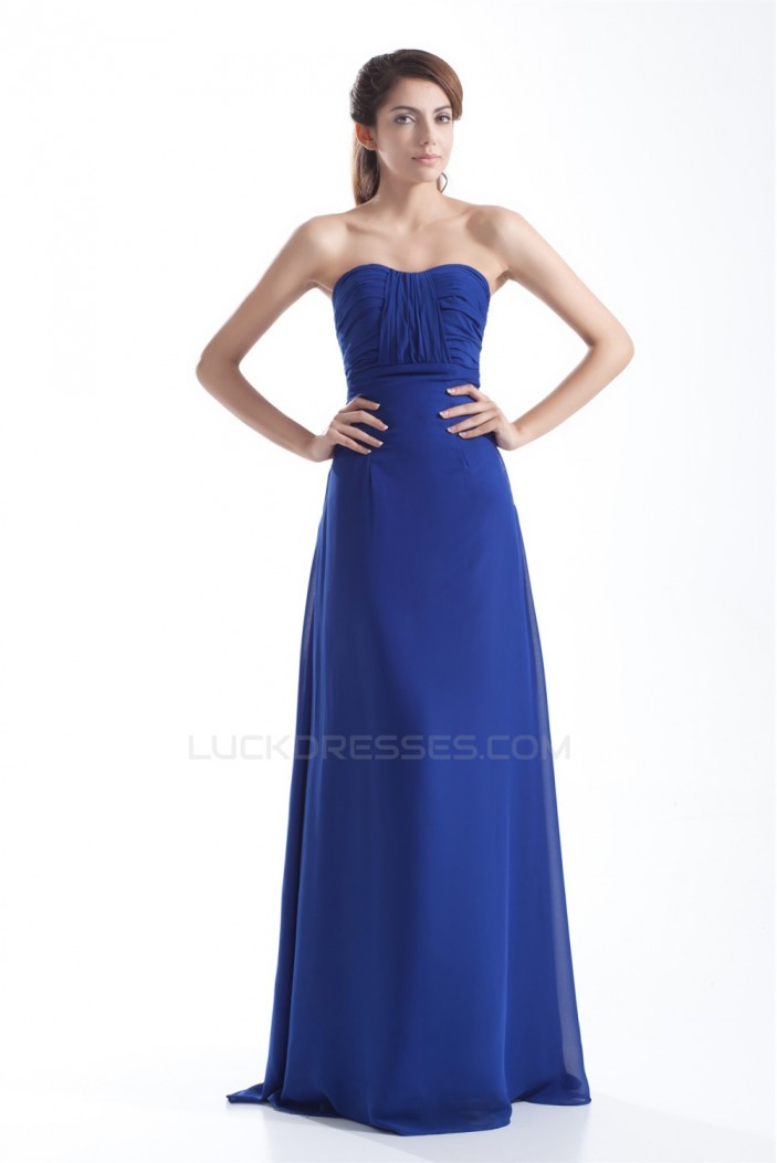 Hot Selling Pleats Strapless Long Blue Bridesmaid/Prom/Formal Evening Dresses 02010144