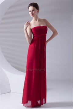 Criss Cross Chiffon Empire Strapless Maternity Long Red Maternity Bridesmaid Dresses 02010151