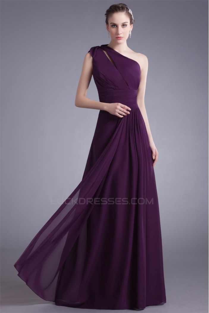 A-Line Chiffon Floor-Length Long Purple Bridesmaid Dresses 02010153