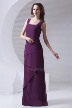Floor-Length Chiffon Long Purple Bridesmaid Dresses 02010154