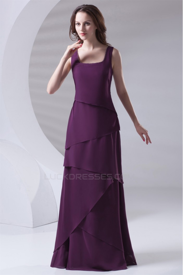 Floor-Length Chiffon Long Purple Bridesmaid Dresses 02010154