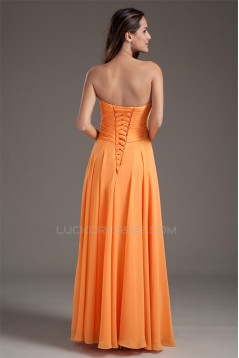 A-Line Sweetheart Floor-Length Chiffon Pleats Long Bridesmaid Dresses 02010155