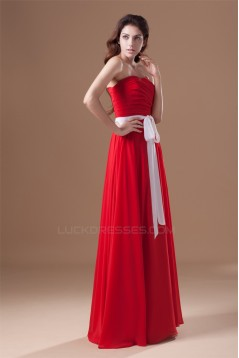 A-Line Sweetheart Floor-Length Chiffon Long Red Bridesmaid Dressess 02010156