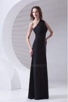 A-Line Sleeveless Floor-Length One-Shoulder Long Black Chiffon Bridesmaid Dresses 02010157