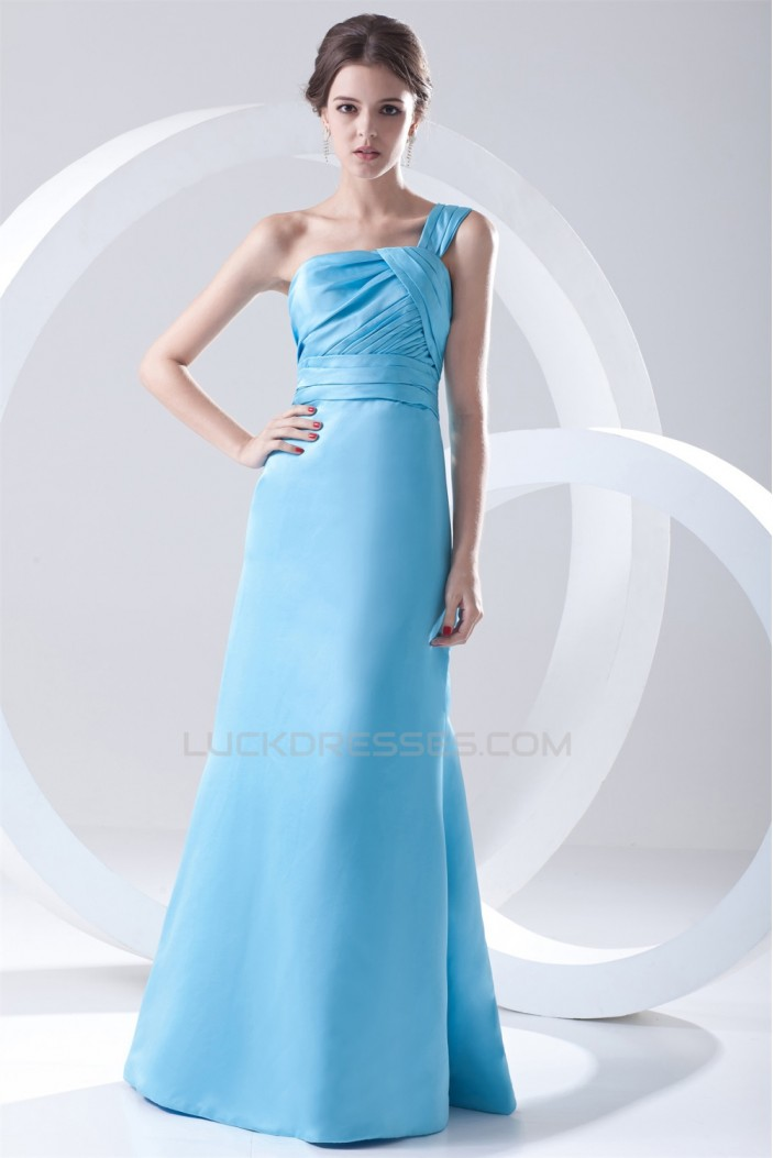 A-Line One-Shoulder Floor-Length Pleats Sleeveless Long Satin Bridesmaid Dresses 02010158