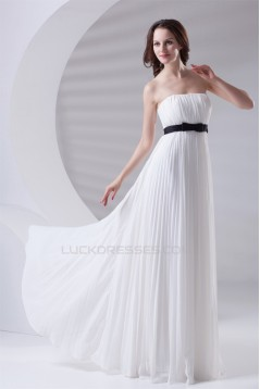 Empire Strapless Long White Chiffon Bridesmaid Dresses Maternity Dresses 02010161