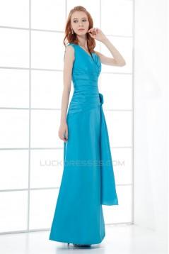 Floor-Length V-Neck Taffeta Handmade Flowers Bridesmaid Dresses 02010163