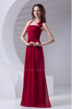 A-Line Halter Sleeveless Ruched Chiffon Long Red Bridesmaid Dresses 02010165
