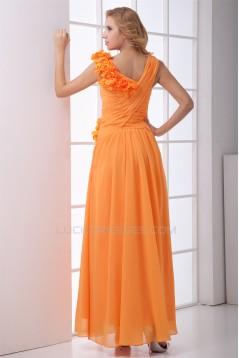 Handmade Flowers Ankle-Length A-Line Chiffon Long Bridesmaid Dresses 02010167