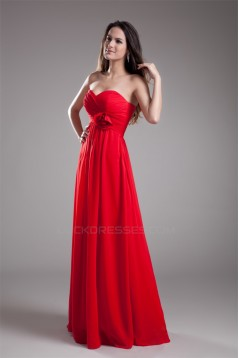 Handmade Flowers Sleeveless Sheath/Column Long Red Chiffon Bridesmaid Dresses 02010168
