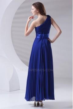 One-Shoulder A-Line Handmade Flowers Chiffon Long Blue Bridesmaid Dresses 02010172