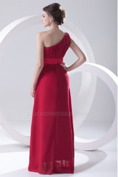 One-Shoulder Chiffon Red Long Bridesmaid Dresses under 100 02010173