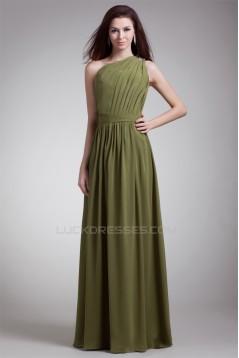 One-Shoulder Floor-Length Sheath/Column Beaded Long Bridesmaid Dresses 02010174