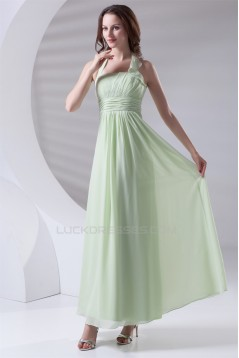 Pleats A-Line Sleeveless Chiffon Long Bridesmaid Dresses 02010176