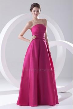 Simple Style Pleats Floor-Length A-Line Sleeveless Taffeta Long Bridesmaid Dresses 02010177