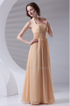 Pleats A-Line Floor-Length Chiffon Long Bridesmaid Dresses 02010180