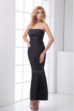 Ruched Ankle-Length Satin Sleeveless Strapless Long Black Bridesmaid Dresses 02010181