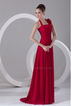 Ruffles Sleeveless Halter Brush Sweep Train Long Red Bridesmaid Dresses 02010182