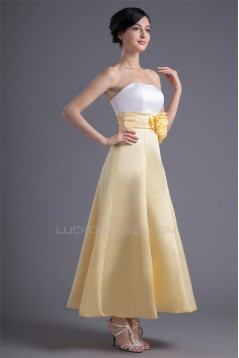 A-Line Ankle-Length Satin Soft Handmade Flowers Bridesmaid Dresses 02010183