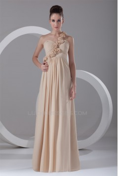 Sheath/Column Sleeveless Chiffon Handmade Flowers Bridesmaid Dresses 02010186