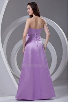 A-Line Strapless Bows Satin Floor-Length Bridesmaid Dresses 02010187
