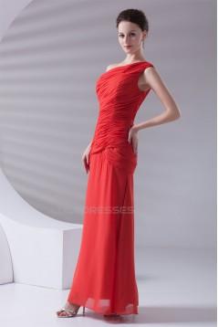 Ankle-Length Sheath/Column One-Shoulder Long Red Bridesmaid Dresses 02010188