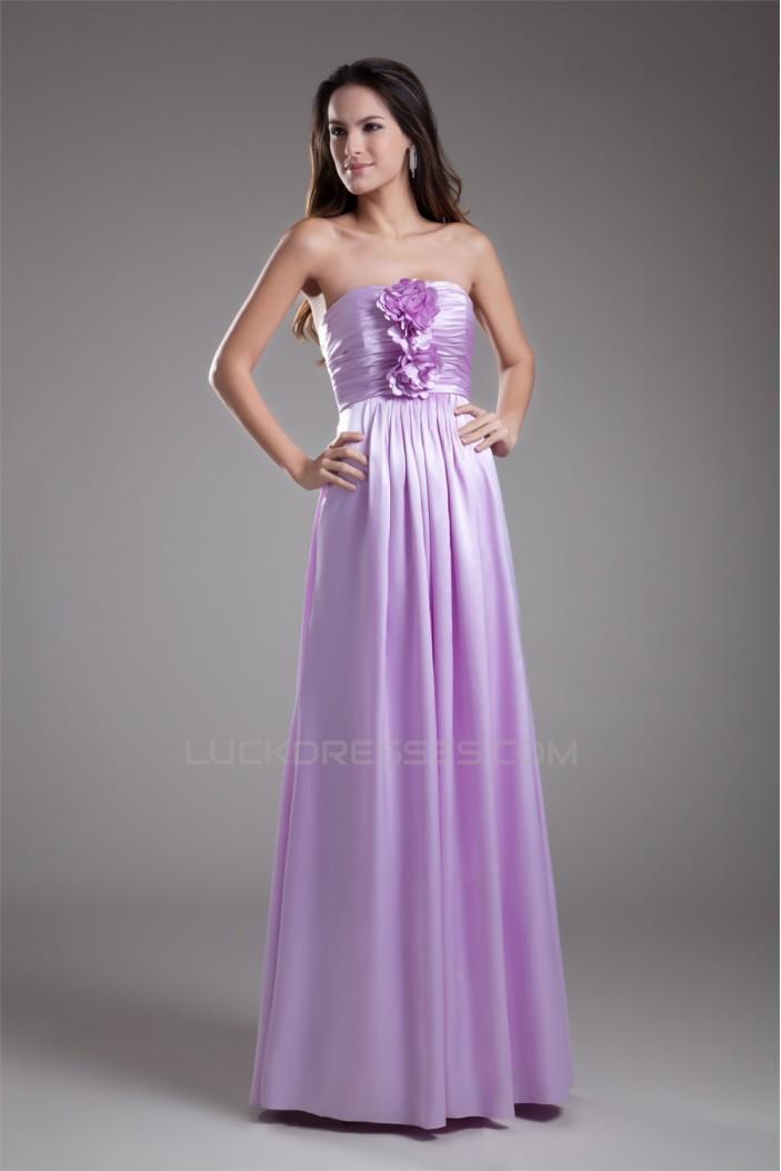 Sleeveless Handmade Flowers Elastic Woven Satin Bridesmaid Dresses 02010190