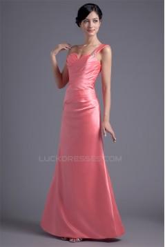 Sleeveless One-Shoulder Beading Satin A-Line Long Bridesmaid Dresses 02010191
