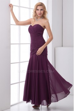 Sleeveless Ruched Ankle-Length Chiffon Best Bridesmaid Dresses 02010193