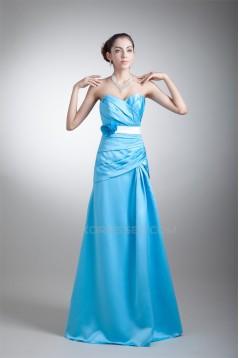 A-Line Floor-Length Sleeveless Satin Handmade Flowers Long Bridesmaid Dresses 02010194