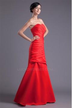 Sleeveless Satin Soft Sweetheart Floor-Length Long Red Bridesmaid Dresses 02010195