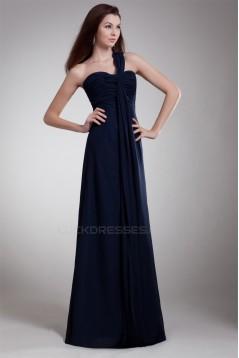 One-Shoulder Sleeveless Sheath/Column Ruched Floor-Length Bridesmaid Dresses 02010197