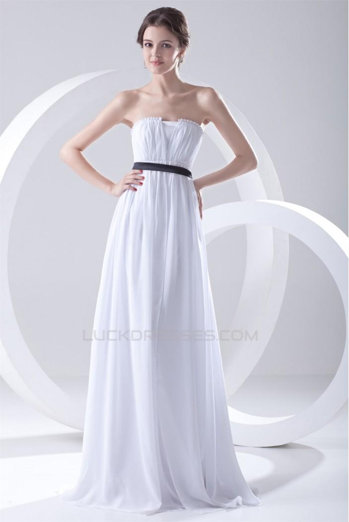 Empire Strapless Chiffon Long White Bridesmaid Dresses Maternity Bridesmaid Dresses 02010198