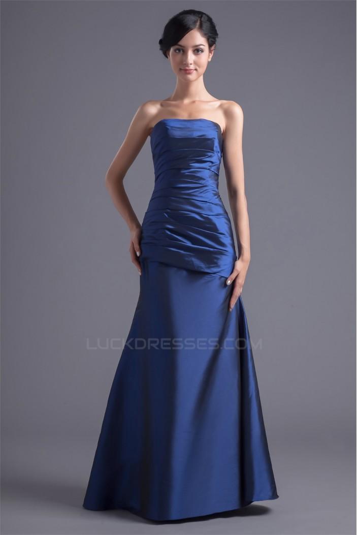 Sleeveless Strapless Taffeta Floor-Length Long Bridesmaid Dresses 02010199