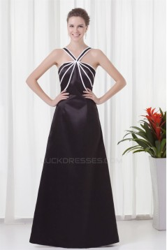 Sleeveless V-Neck Trimmed A-Line Satin Floor-Length Bridesmaid Dresses 02010202