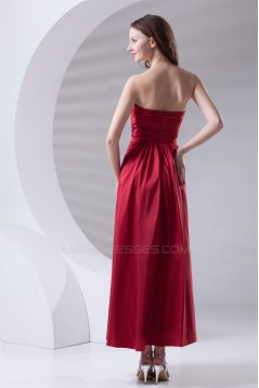 Soft Sweetheart A-Line Pleats Taffeta Sleeveless Long Red Bridesmaid Dresses 02010203