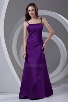 A-Line Spaghetti Straps Satin Beading Floor-Length Long Purple Bridesmaid Dresses 02010204