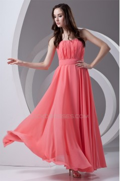 A-Line Strapless Chiffon Long Bridesmaid Dresses 02010205