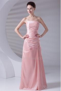A-Line Strapless Ruched Sleeveless Long Taffeta Bridesmaid Dresses 02010208